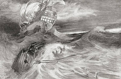 Portent Drawing - The Flying Dutchman. A Ghost Ship That by Vintage Design Pics