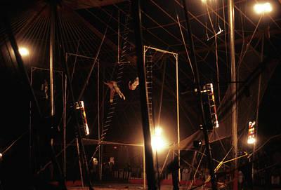 The Flying Trapeze 1980s Circus Art Print by Joseph Duba
