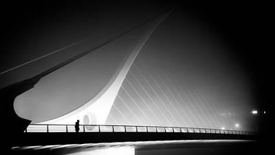 35mm Photograph - The Foggy Bridge - Dublin, Ireland - Black And White Street Photography by Giuseppe Milo