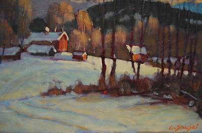 Red Barn In Winter Painting - The Foisey Farm by Len Stomski