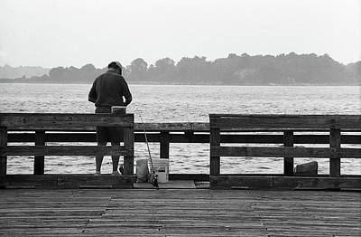 Photograph - The Folks - Fishing 1 2004 Bw by Frank Romeo