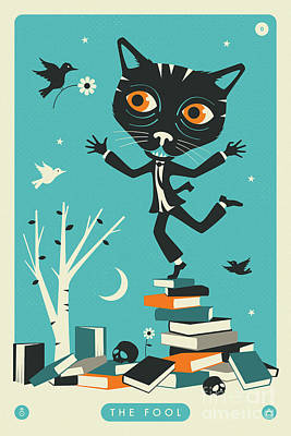 Tarot Wall Art - Digital Art - The Fool Tarot Card Cat by Jazzberry Blue
