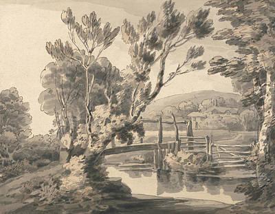 The Foot Bridge Art Print by Francis Towne