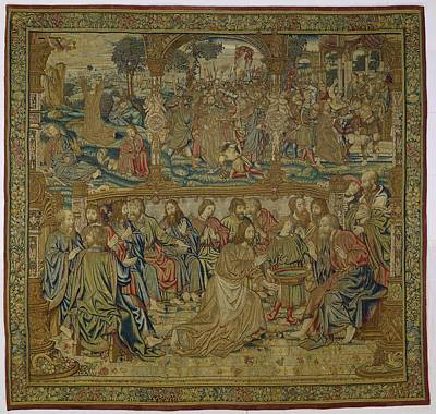 Tapestry - Textile - The Foot Washing   Pieter Van Enghien  Ca 1511  Ca 1520 by R Muirhead Art