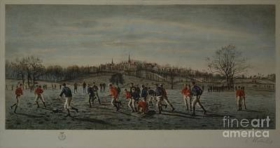 Playing Football Painting - The Football Fields Harrow by MotionAge Designs