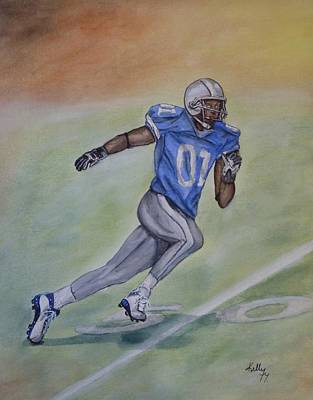 Painting - The Football Player Run by Kelly Mills