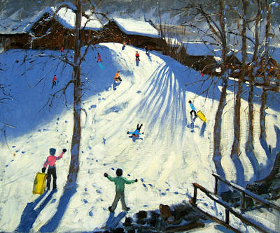 Sledding Painting - The Footbridge by Andrew Macara