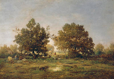 Field. Cloud Painting - The Footbridge by Theodore Rousseau