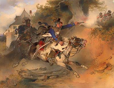 Geese Painting - The Foraging Hussar 1840 by Mountain Dreams