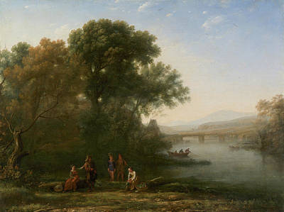 Angler Painting - The Ford by Claude Lorrain