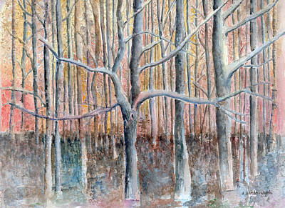 Tree Trunk Painting - The Forest For The Trees by Arline Wagner