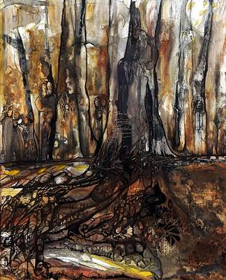 Painting - The Forest Remembers by Anne-D Mejaki - Art About You productions