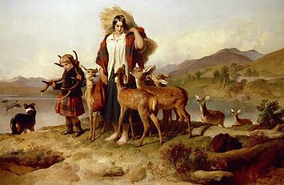 Scottish Dog Painting - The Forester's Family by Sir Edwin Landseer