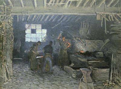Worker Painting - The Forge by Alfred Sisley