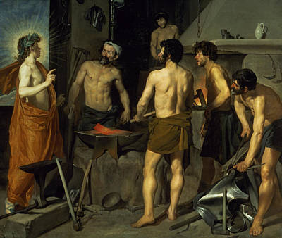 Nudes Painting - The Forge Of Vulcan by Diego Velazquez