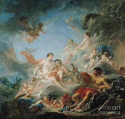 Goddess Mythology Painting - The Forge Of Vulcan by Francois Boucher