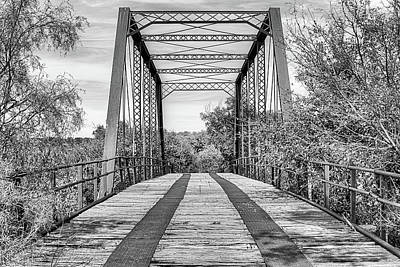 Photograph - The Fort Griffin Bridge In Black And White by JC Findley
