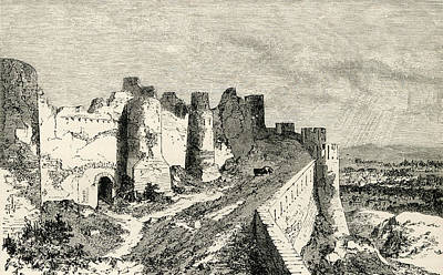 World Heritage Site Drawing - The Fortifications Of Carcassonne by Vintage Design Pics