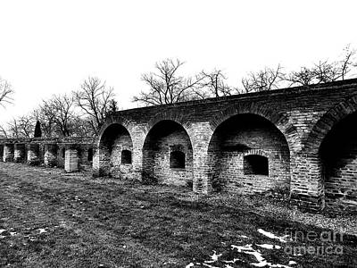 Photograph - The Fortress Wall - Monochrome by Erika H