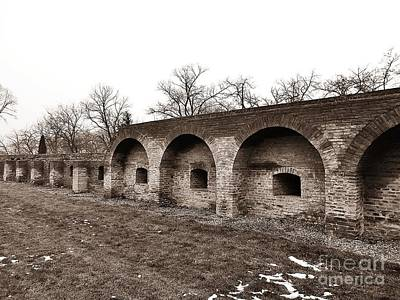 Photograph - The Fortress Wall - Sepia by Erika H