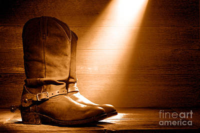 Photograph - The Found Boots - Sepia by Olivier Le Queinec