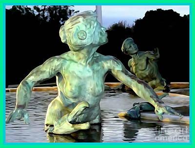 Digital Art - The Fountain Couple by Ed Weidman