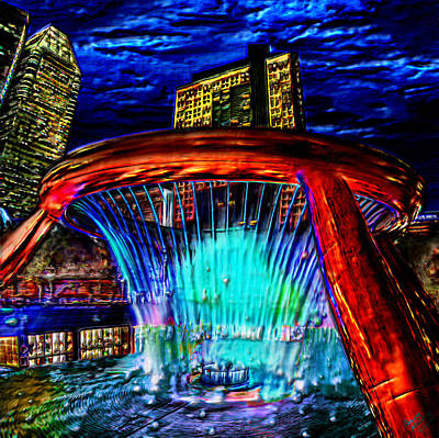 Stream Painting - The Fountain Of Wealth Singapore by Bruce Nutting