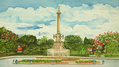 Wall Art - Painting - The Fountain by Terry Arroyo Mulrooney