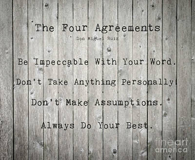 Photograph - The Four Agreements 12 by Andrea Anderegg