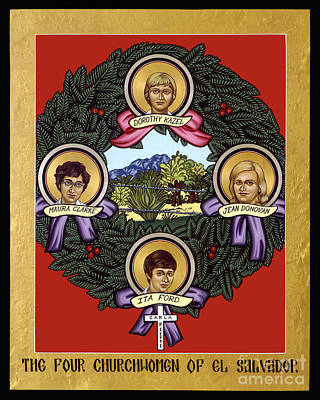 Painting - The Four Church Women Of El Salvador - Lwfcw by Lewis Williams OFS