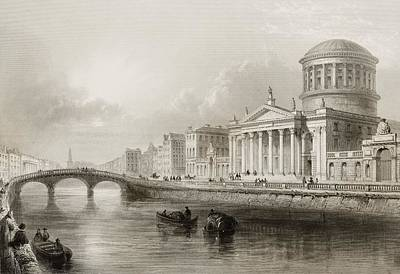 Dublin Drawing - The Four Courts, Dublin, Ireland. Drawn by Vintage Design Pics