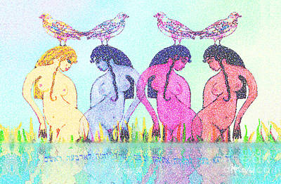 The Four Daughters Of Eve  -aka-  Four Rivers Art Print