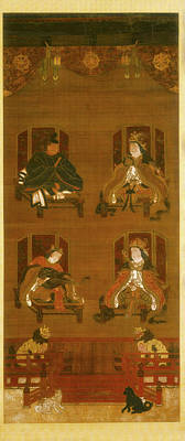 On Silk Painting - The Four Deities Of Koyasan Temple Complex by Unknown Japanese