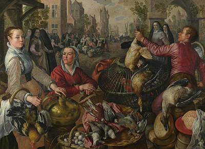 Painting - The Four Elements - Air. A Poultry Market With The Prodigal Son In The Background by Joachim Beuckelaer