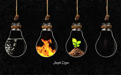 Thought Digital Art - The Four Elements - Da by Leonardo Digenio