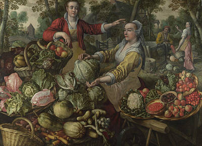 Fruits And Vegetables Painting - The Four Elements - Earth. A Fruit And Vegetable Market With The Flight Into Egypt In The Background by Joachim Beuckelaer