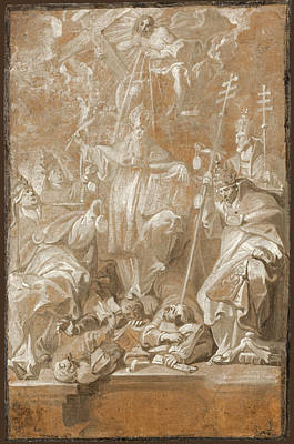 Painting - The Four Fathers Of The Church With Saint Lambert by Antoine Sallaert