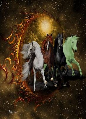 Digital Art - The Four Horses Of The Apocalypse by Ali Oppy