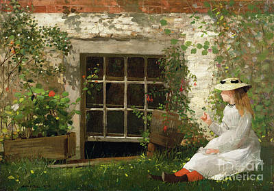 Little Girls Painting - The Four Leaf Clover by Winslow Homer