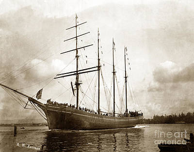 Photograph - The Four-masted Barkentine  Jane Stanford Built By Hans Bendixse 1892 by California Views Archives Mr Pat Hathaway Archives