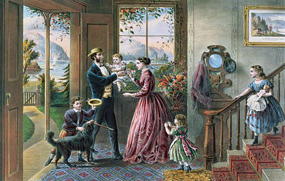 Father Painting - The Four Seasons Of Life  Middle Age by Currier and Ives