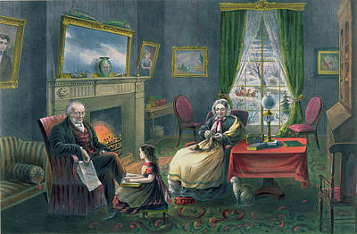Newspaper Painting - The Four Seasons Of Life  Old Age by Currier and Ives