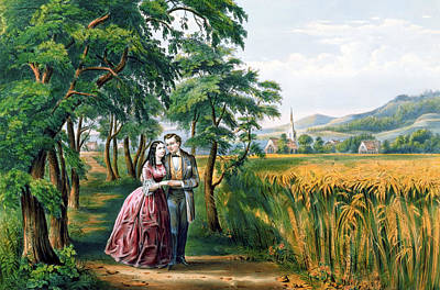 Currier And Ives Painting - The Four Seasons Of Life  Youth  The Season Of Love by Currier and Ives