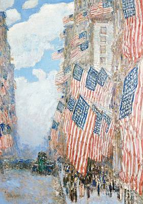 Stars And Stripe Painting - The Fourth Of July by Childe Hassam