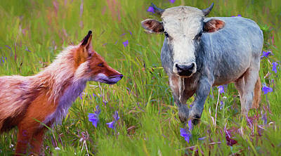 Photograph - The Fox And Bull - Painted by Ericamaxine Price