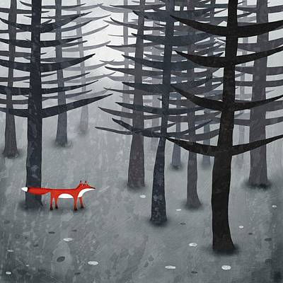 Forest Painting - The Fox And The Forest by Nic Squirrell
