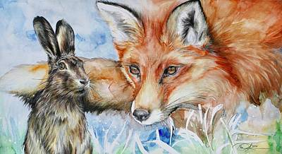 Red Fox Mixed Media - The Fox And The Hare by Danielle Rosalie Pellicci