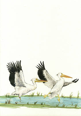 Pelican Wall Art - Painting - The Fox And The Pelicans by Juan Bosco
