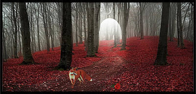 Digital Art - The Fox And The Rose by Harald Dastis