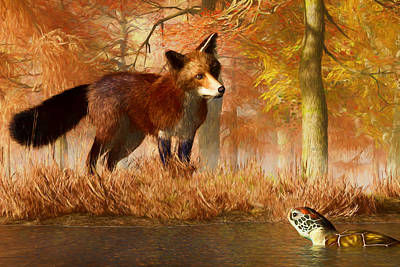 Animal Lover Digital Art - The Fox And The Turtle by Daniel Eskridge